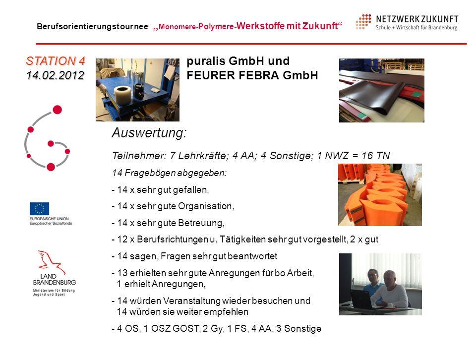 Auswertung: STATION 4 14.02.2012 puralis GmbH und FEURER FEBRA GmbH