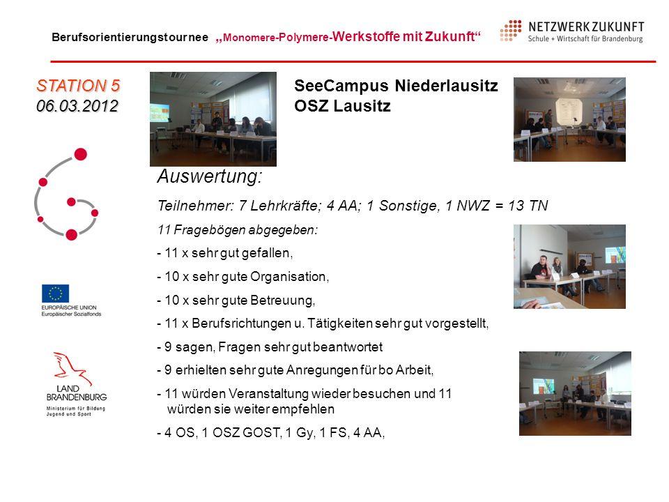 Auswertung: STATION 5 06.03.2012 SeeCampus Niederlausitz OSZ Lausitz