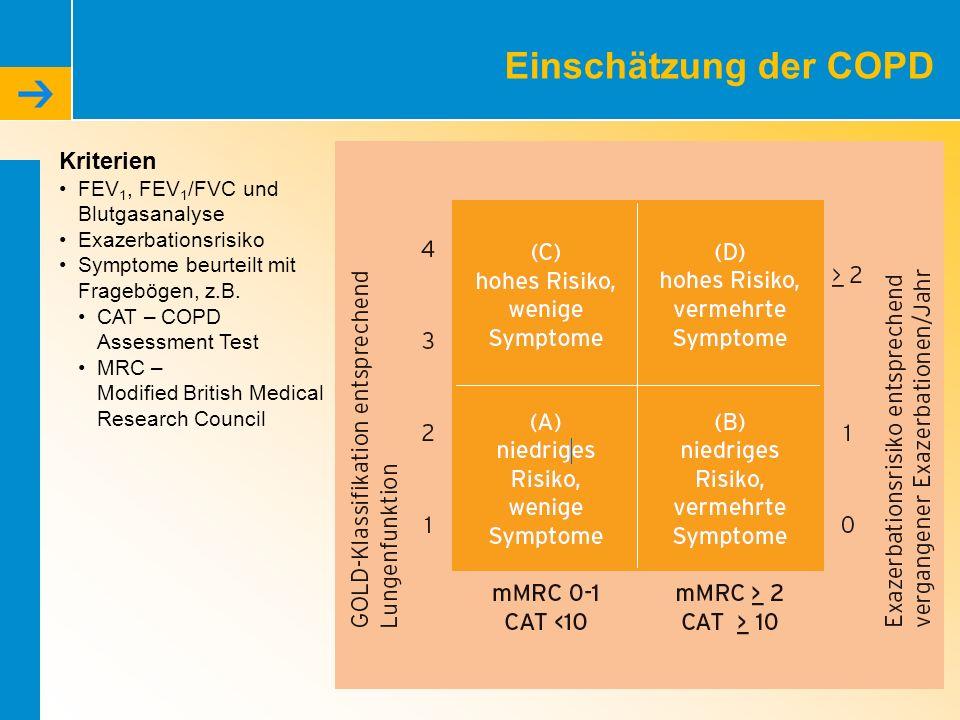Einschätzung der COPD Kriterien FEV1, FEV1/FVC und Blutgasanalyse