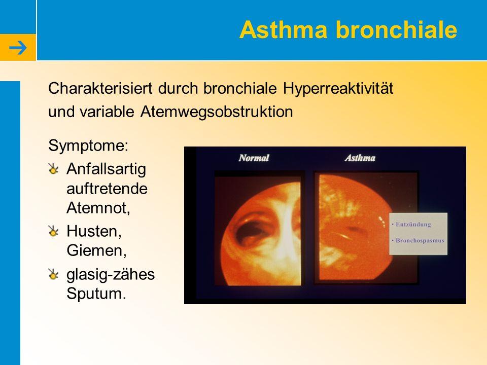 Asthma bronchiale Charakterisiert durch bronchiale Hyperreaktivität