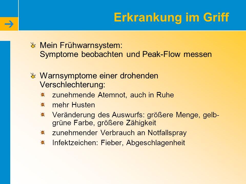 Erkrankung im Griff Mein Frühwarnsystem: Symptome beobachten und Peak-Flow messen. Warnsymptome einer drohenden Verschlechterung: