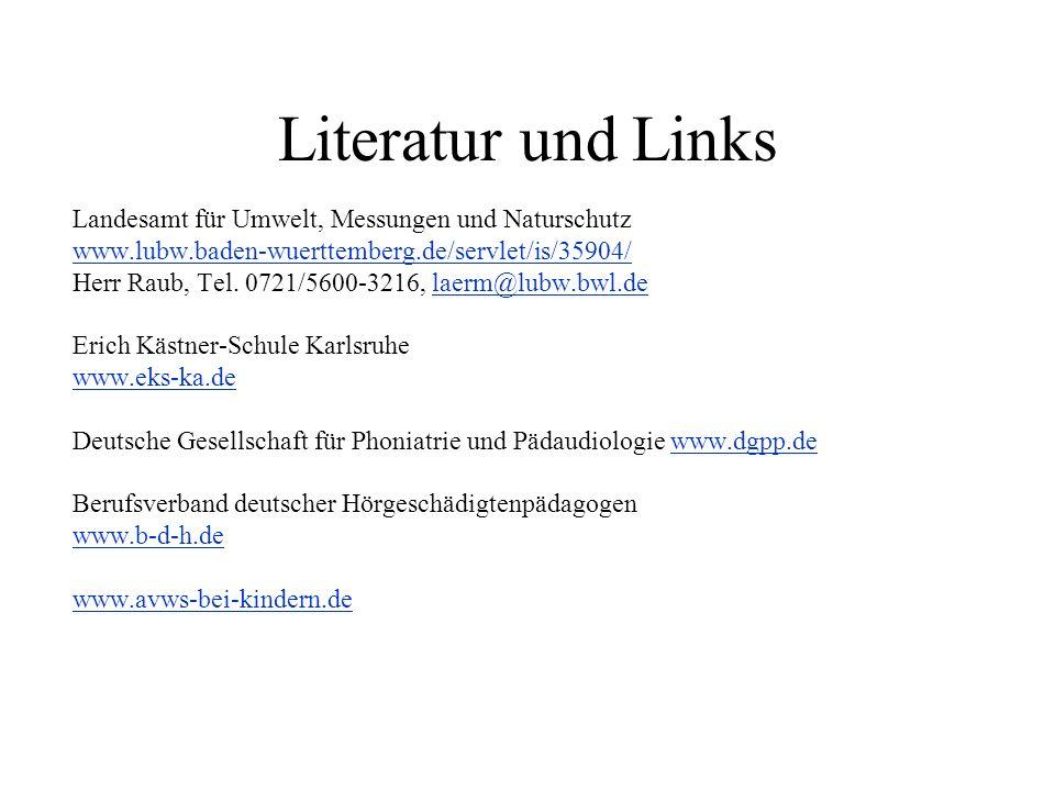 Literatur und Links Landesamt für Umwelt, Messungen und Naturschutz