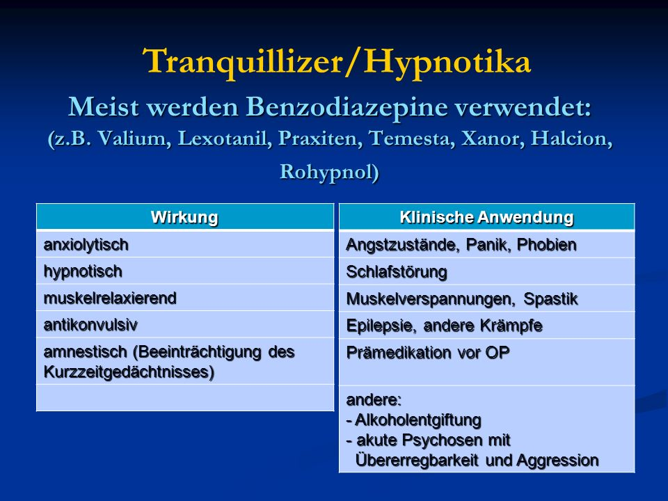 Tranquillizer/Hypnotika