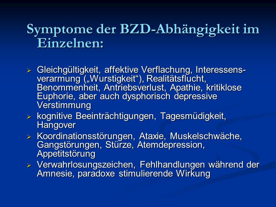 Symptome der BZD-Abhängigkeit im Einzelnen: