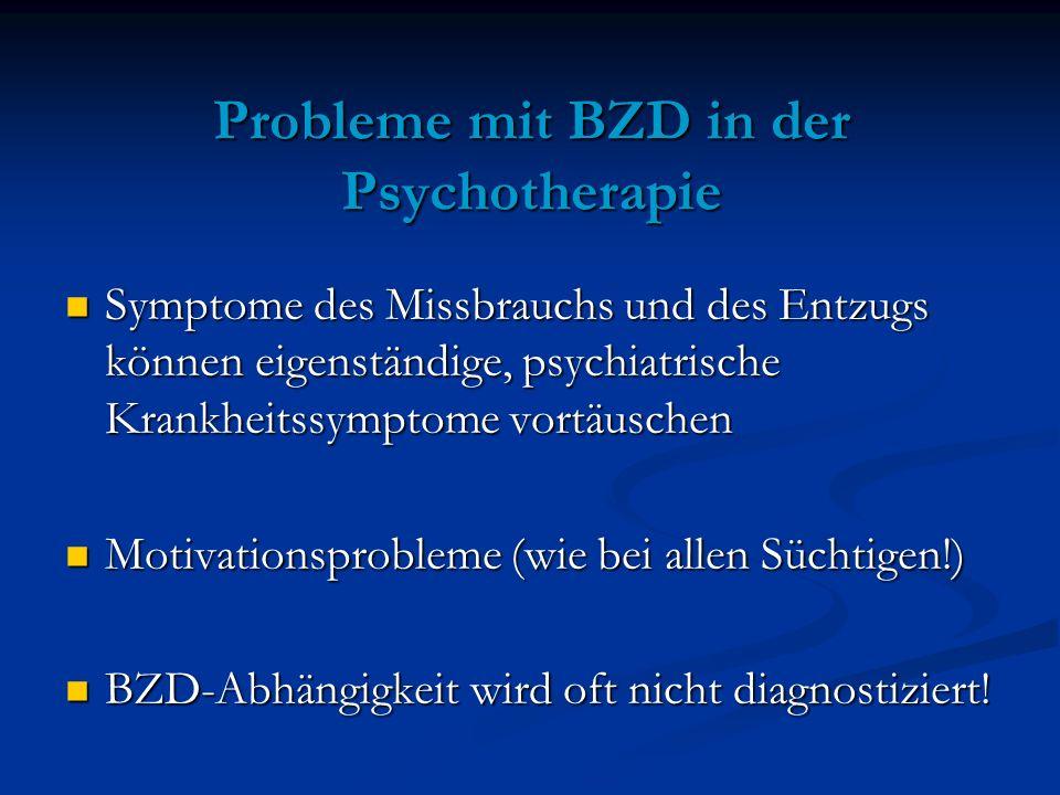 Probleme mit BZD in der Psychotherapie