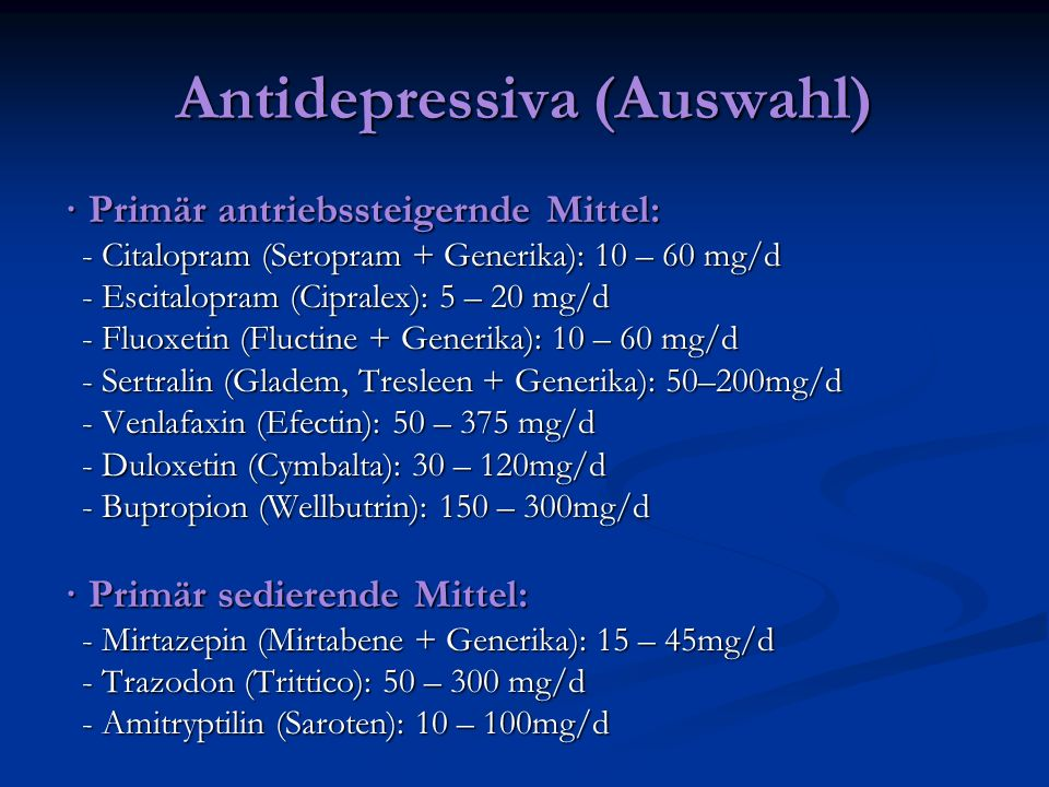 Antidepressiva (Auswahl)