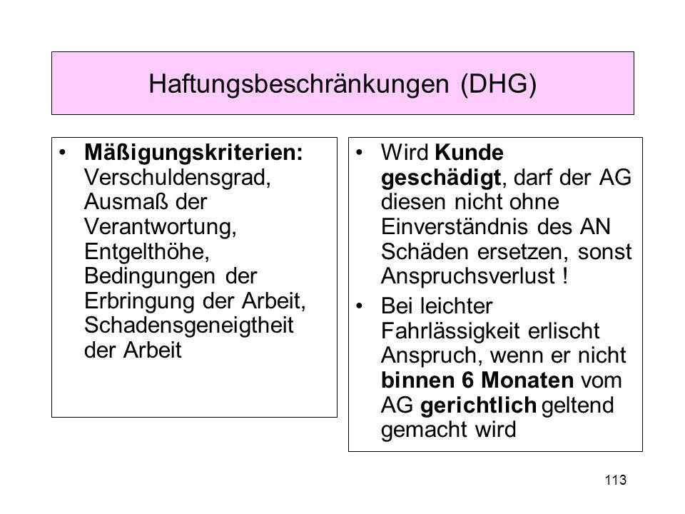 Haftungsbeschränkungen (DHG)