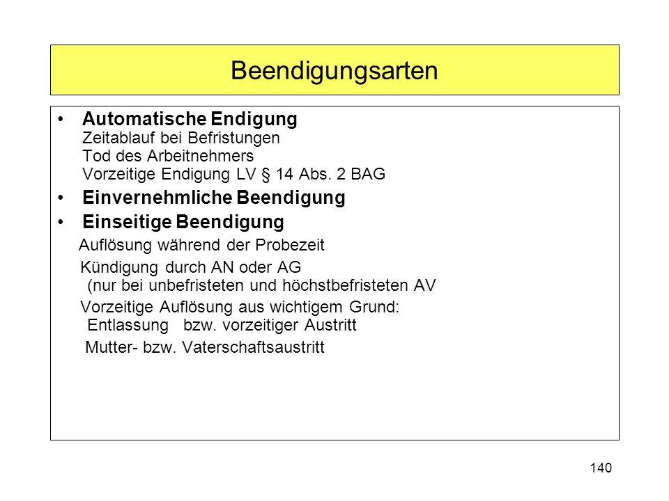 Beendigungsarten Automatische Endigung Zeitablauf bei Befristungen Tod des Arbeitnehmers Vorzeitige Endigung LV § 14 Abs. 2 BAG.