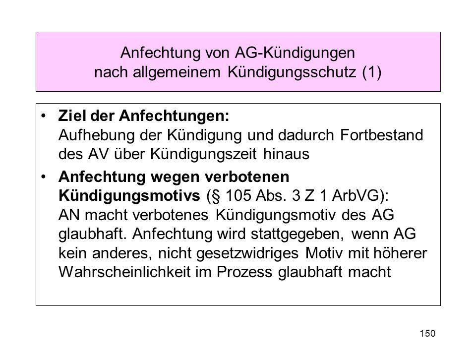 Anfechtung von AG-Kündigungen nach allgemeinem Kündigungsschutz (1)