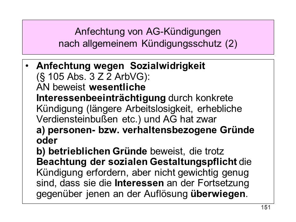 Anfechtung von AG-Kündigungen nach allgemeinem Kündigungsschutz (2)