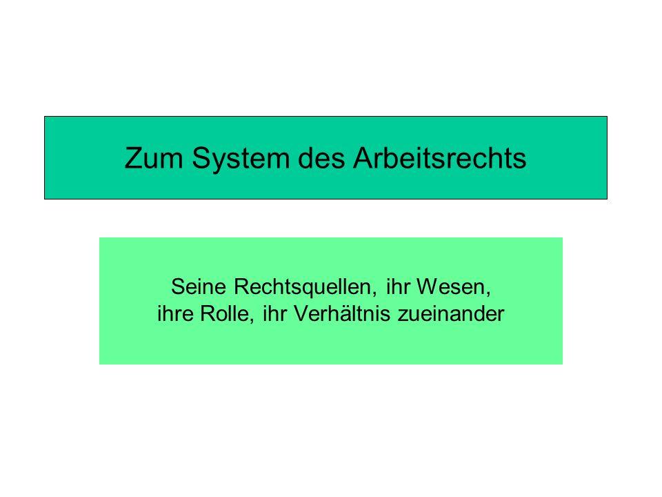 Zum System des Arbeitsrechts
