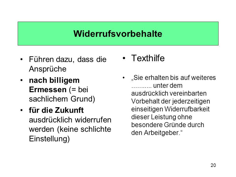 Widerrufsvorbehalte Texthilfe Führen dazu, dass die Ansprüche