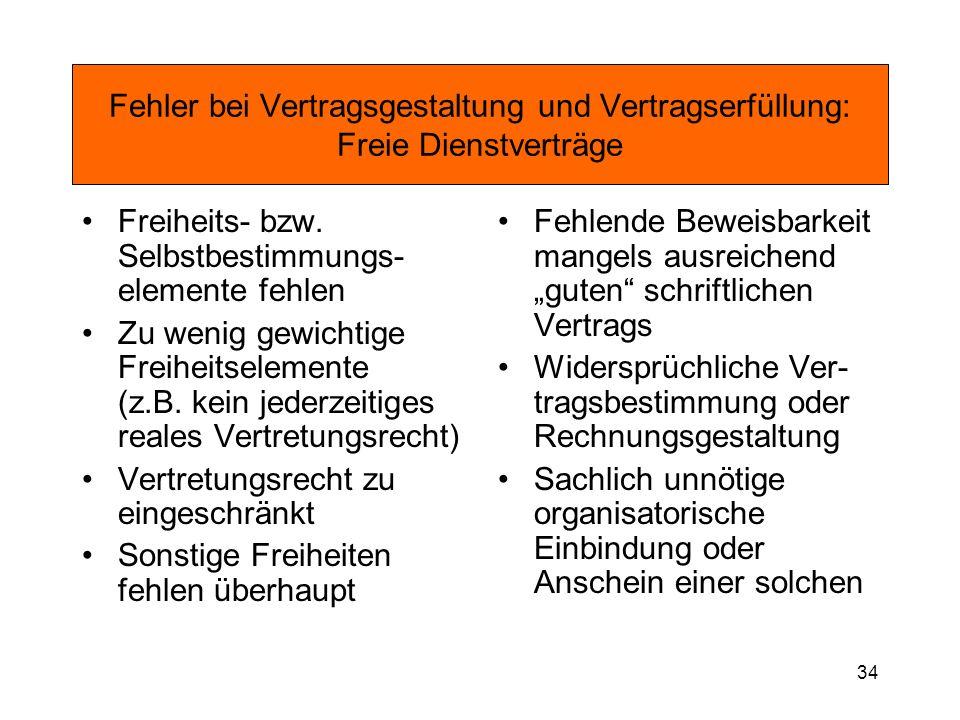 Fehler bei Vertragsgestaltung und Vertragserfüllung: Freie Dienstverträge