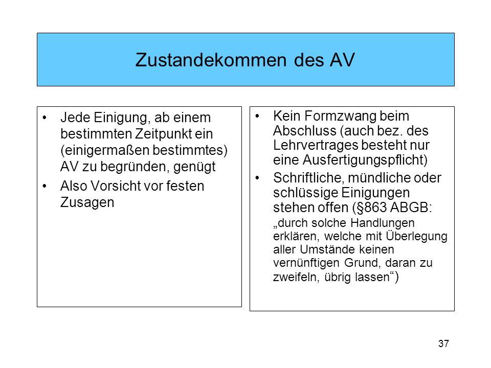 Zustandekommen des AV Jede Einigung, ab einem bestimmten Zeitpunkt ein (einigermaßen bestimmtes) AV zu begründen, genügt.