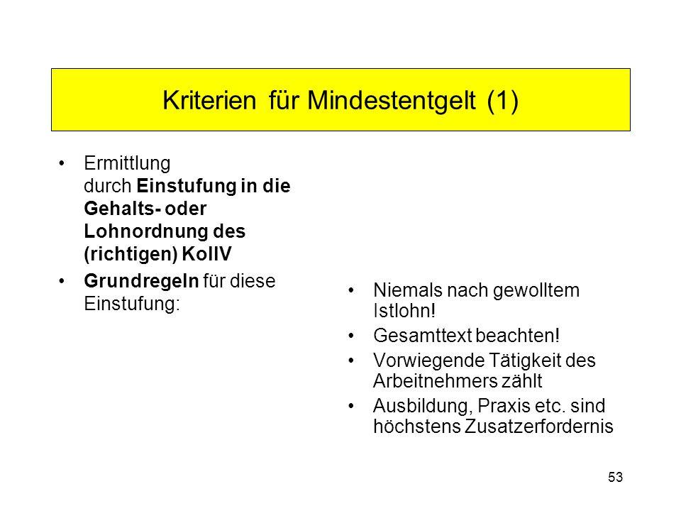 Kriterien für Mindestentgelt (1)