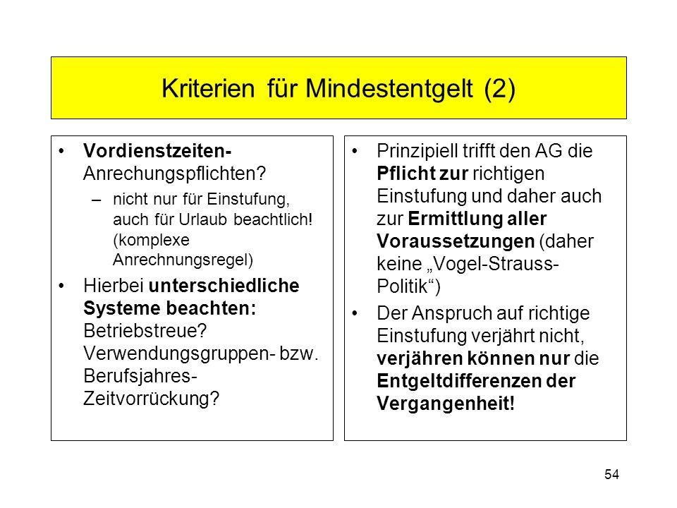 Kriterien für Mindestentgelt (2)