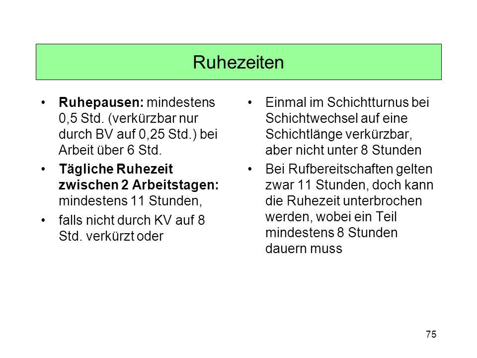Ruhezeiten Ruhepausen: mindestens 0,5 Std. (verkürzbar nur durch BV auf 0,25 Std.) bei Arbeit über 6 Std.