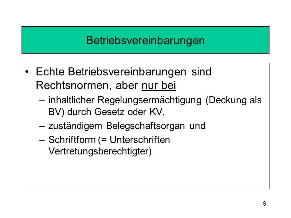 Betriebsvereinbarungen