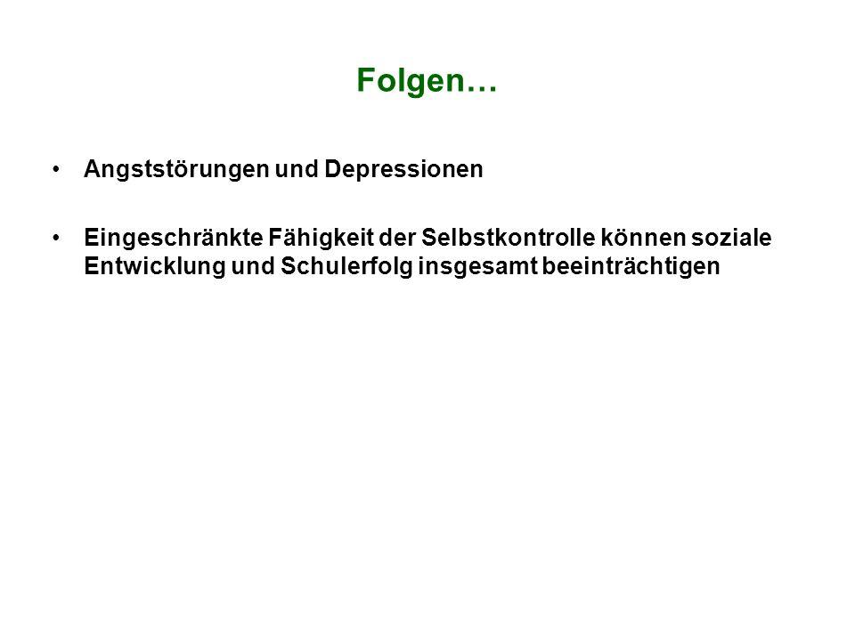Folgen… Angststörungen und Depressionen