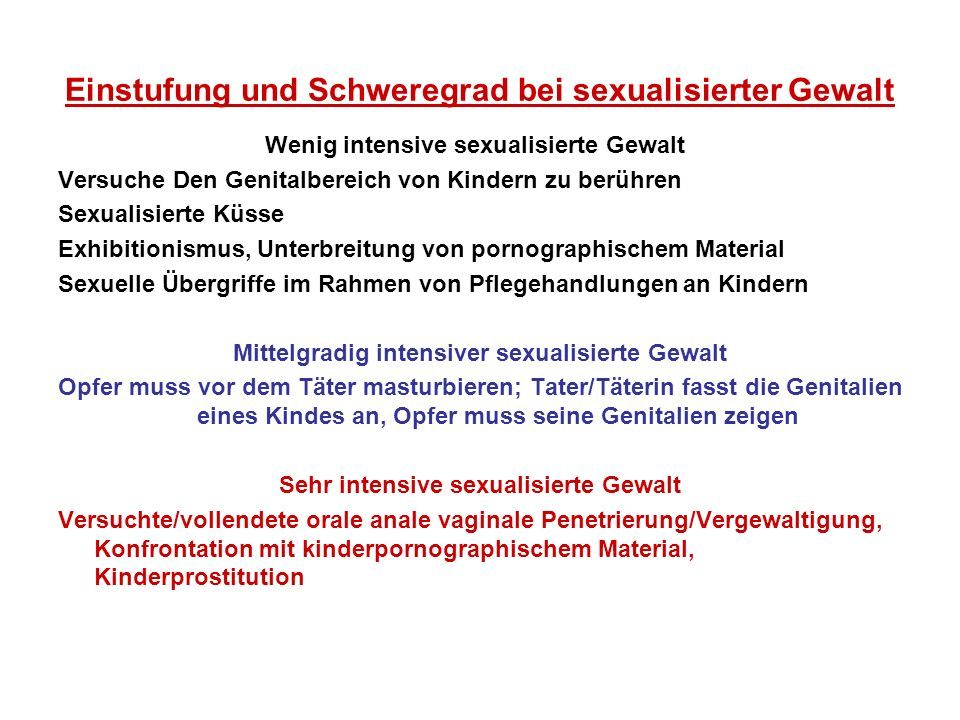 Einstufung und Schweregrad bei sexualisierter Gewalt