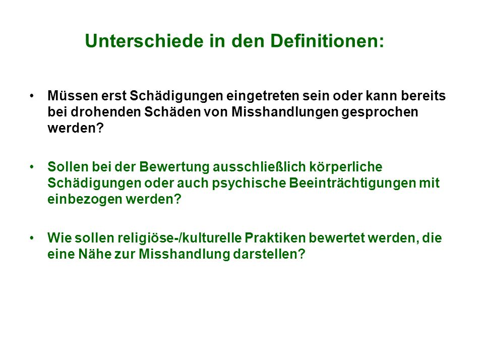 Unterschiede in den Definitionen: