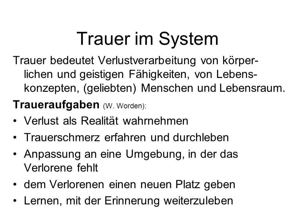 Trauer im System