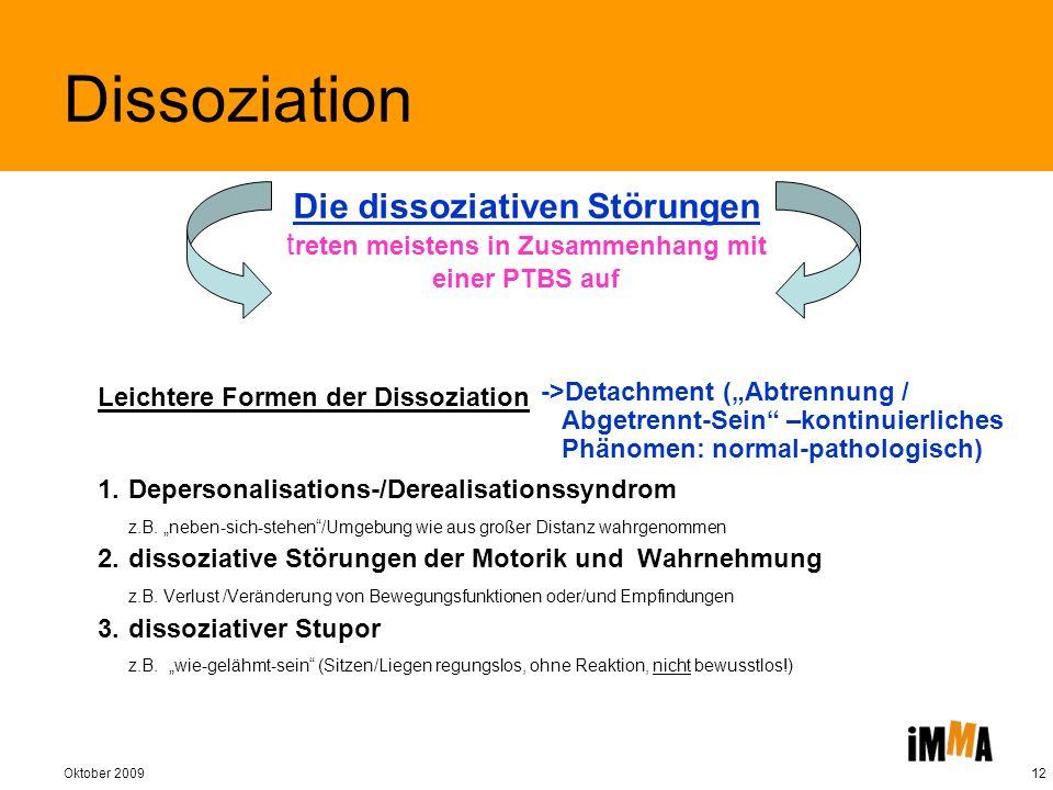 Dissoziation Die dissoziativen Störungen treten meistens in Zusammenhang mit einer PTBS auf. Leichtere Formen der Dissoziation.
