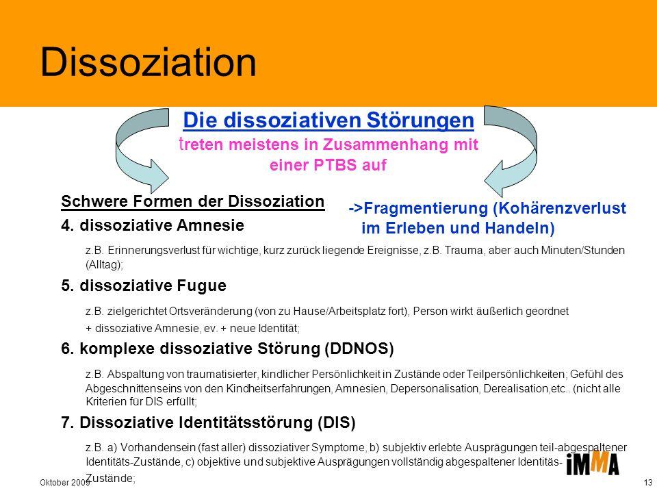 Dissoziation Die dissoziativen Störungen treten meistens in Zusammenhang mit einer PTBS auf. Schwere Formen der Dissoziation.