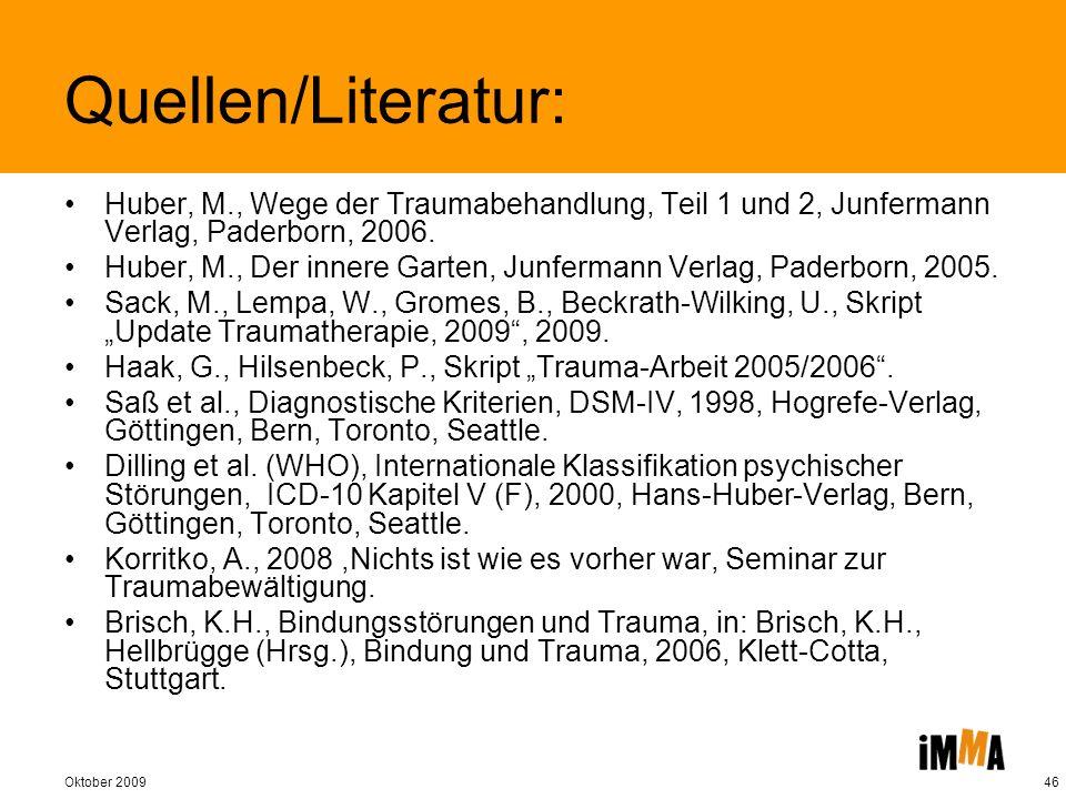 Quellen/Literatur: Huber, M., Wege der Traumabehandlung, Teil 1 und 2, Junfermann Verlag, Paderborn, 2006.