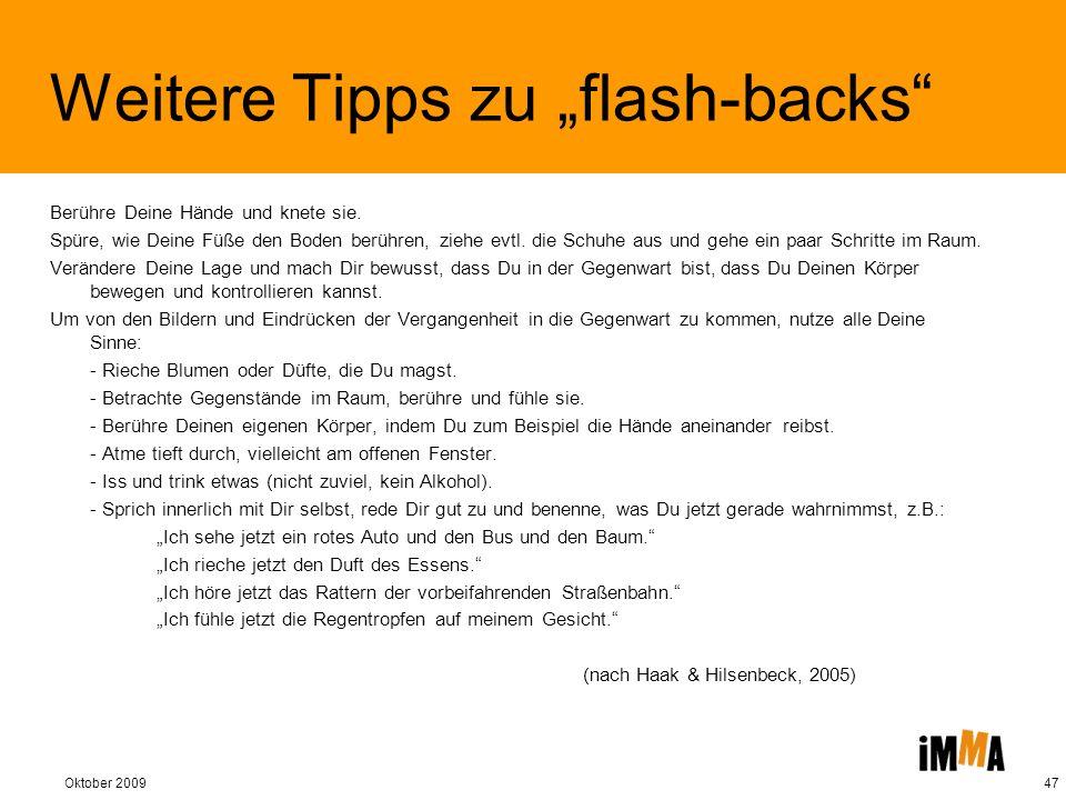 """Weitere Tipps zu """"flash-backs"""