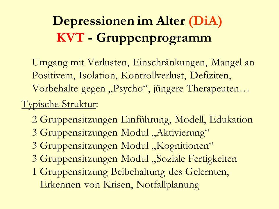 Depressionen im Alter (DiA) KVT - Gruppenprogramm