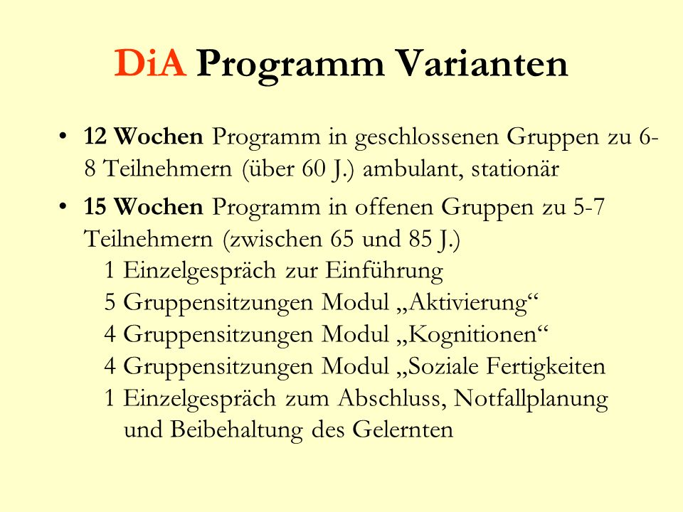 DiA Programm Varianten