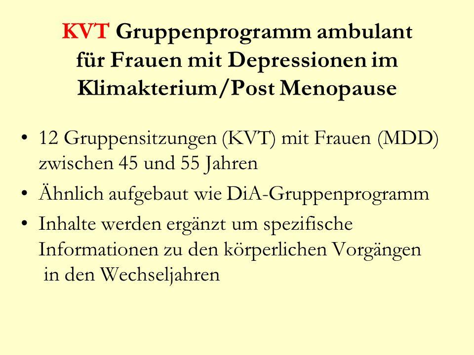 KVT Gruppenprogramm ambulant für Frauen mit Depressionen im Klimakterium/Post Menopause