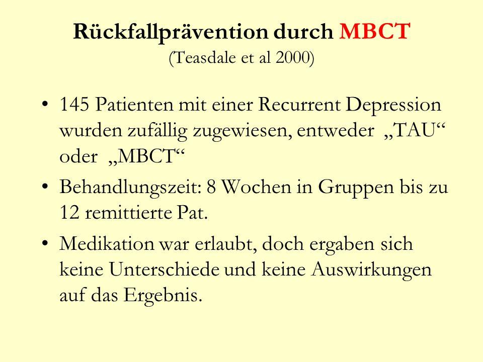 Rückfallprävention durch MBCT (Teasdale et al 2000)