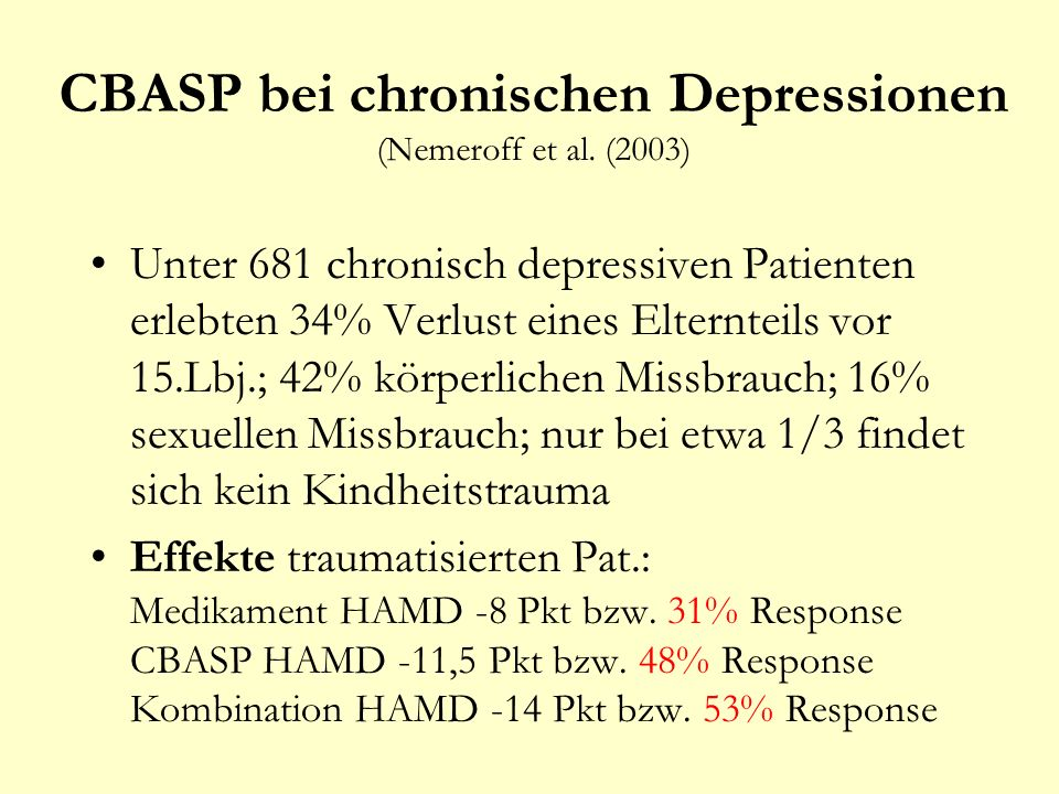 CBASP bei chronischen Depressionen (Nemeroff et al. (2003)
