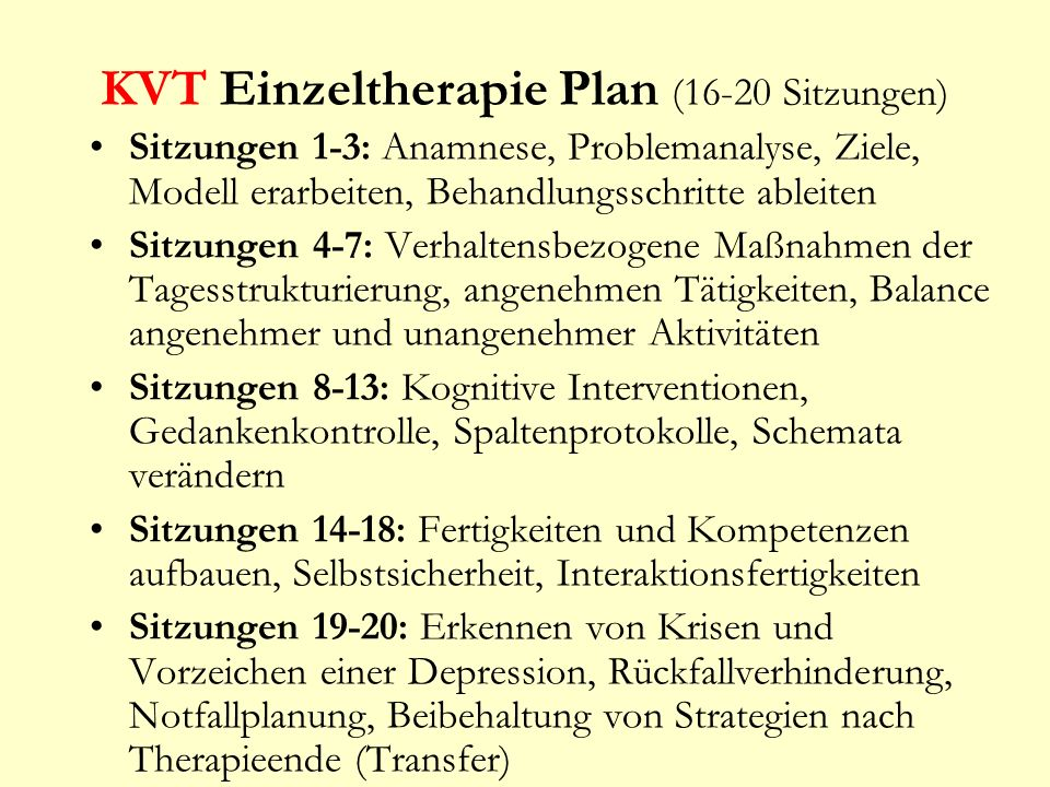 KVT Einzeltherapie Plan (16-20 Sitzungen)