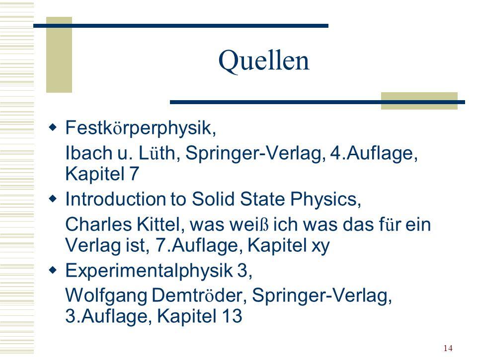 Quellen Festkörperphysik,