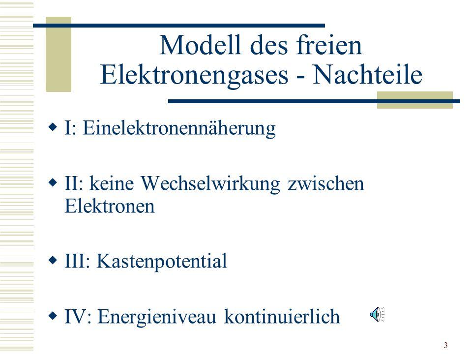 Modell des freien Elektronengases - Nachteile