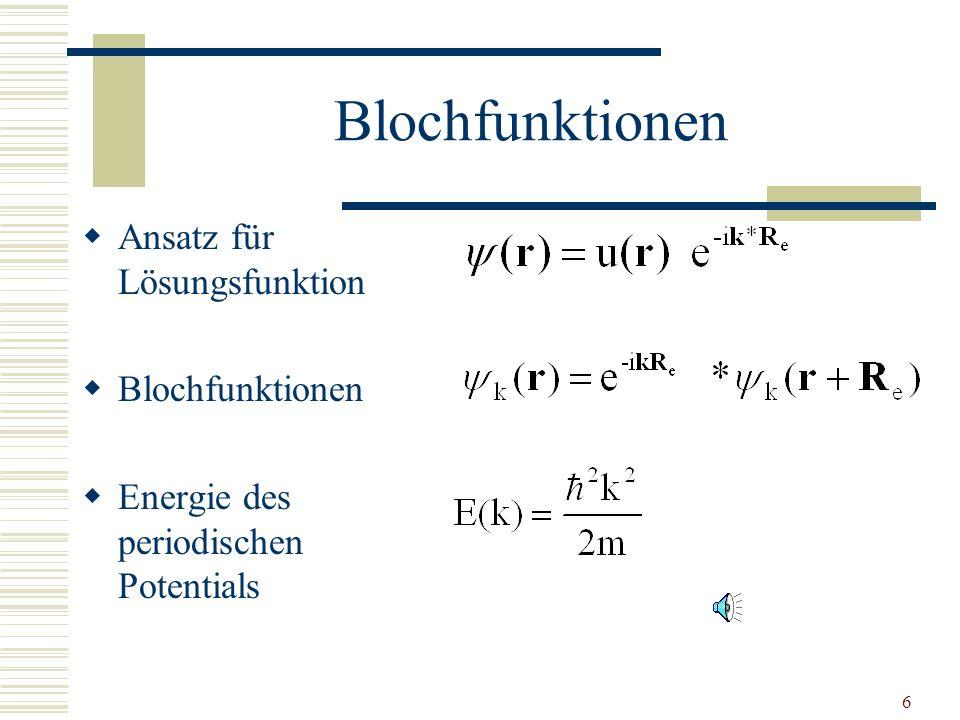 Blochfunktionen Ansatz für Lösungsfunktion Blochfunktionen