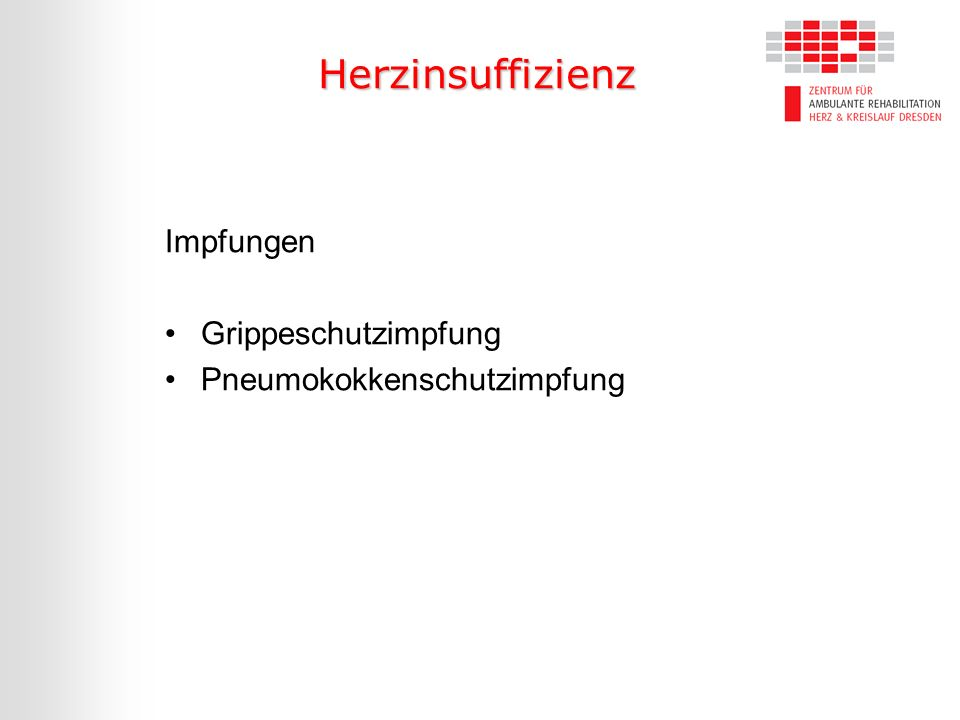 Herzinsuffizienz Impfungen Grippeschutzimpfung