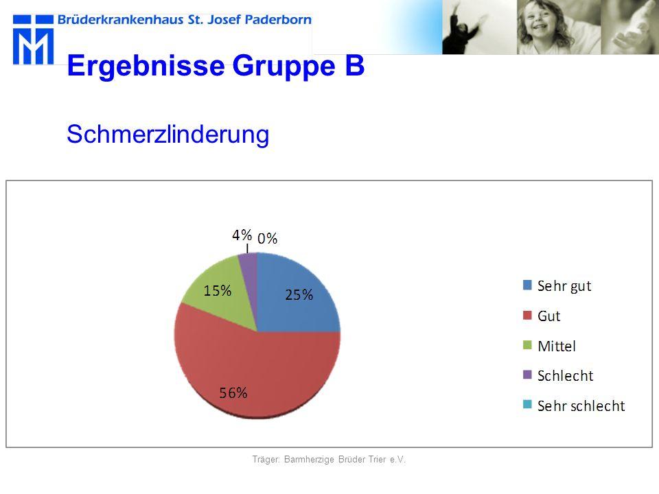 Ergebnisse Gruppe B Schmerzlinderung