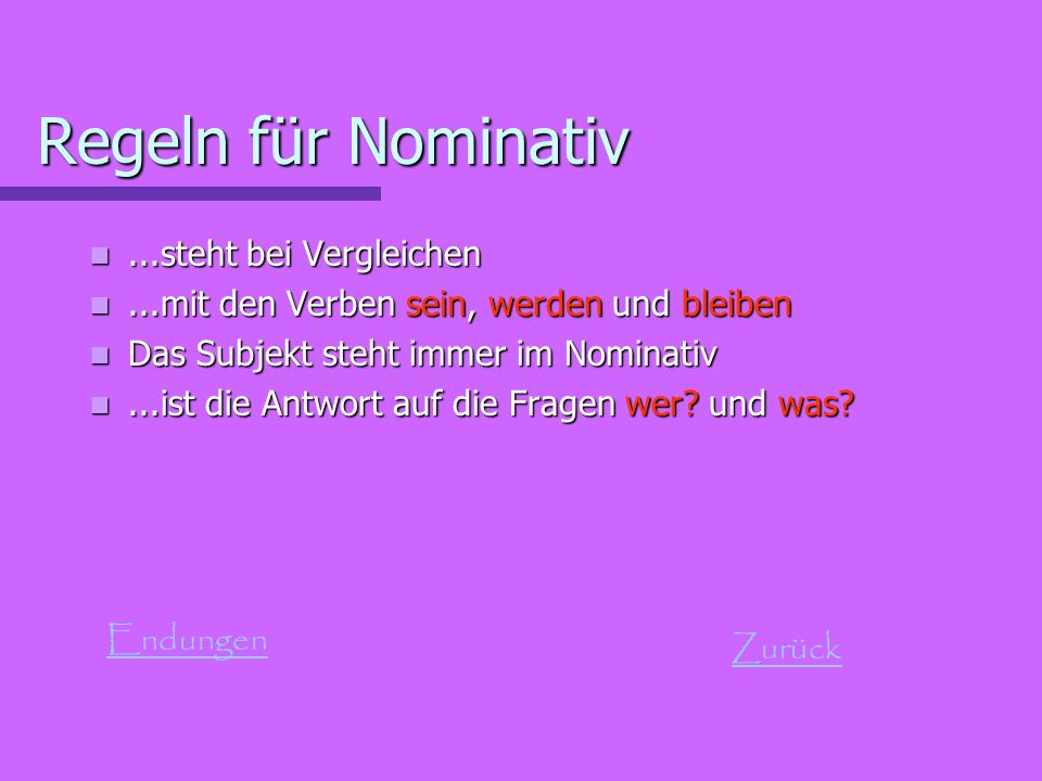 Regeln für Nominativ ...steht bei Vergleichen