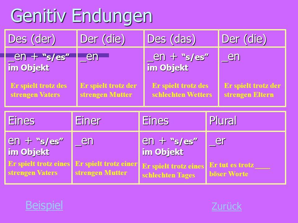 Genitiv Endungen Des (der) Der (die) Des (das) _en + s/es im Objekt