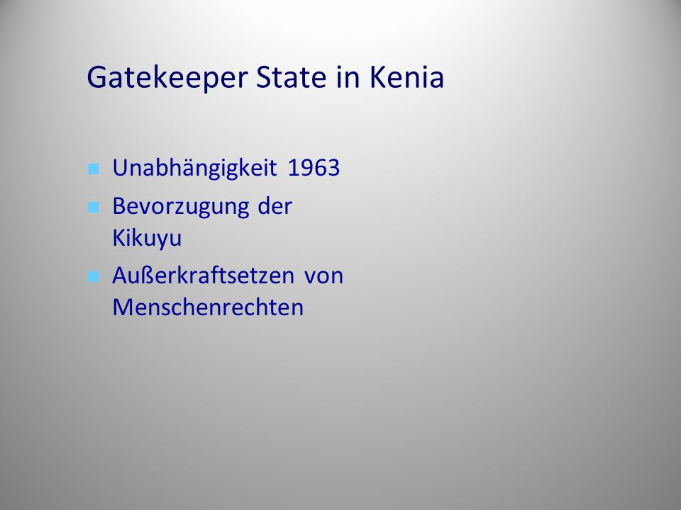 Gatekeeper State in Kenia