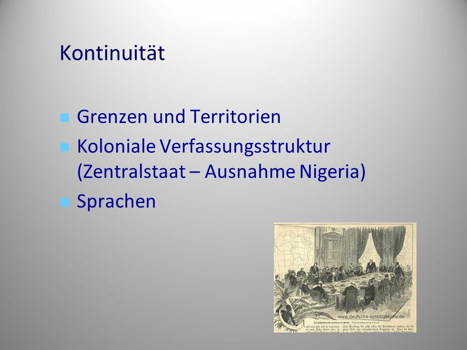 Kontinuität Grenzen und Territorien