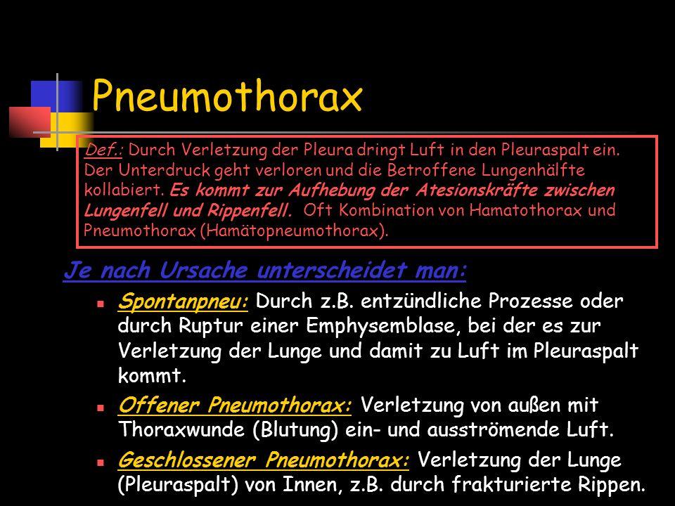 Pneumothorax Je nach Ursache unterscheidet man: