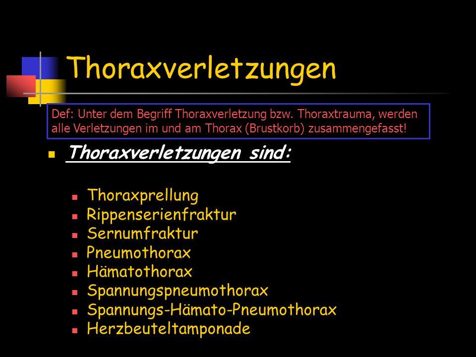 Thoraxverletzungen Thoraxverletzungen sind: Thoraxprellung