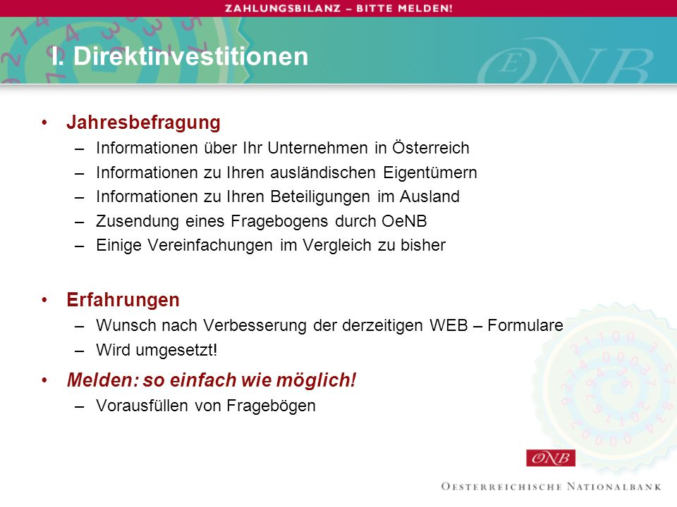I. Direktinvestitionen