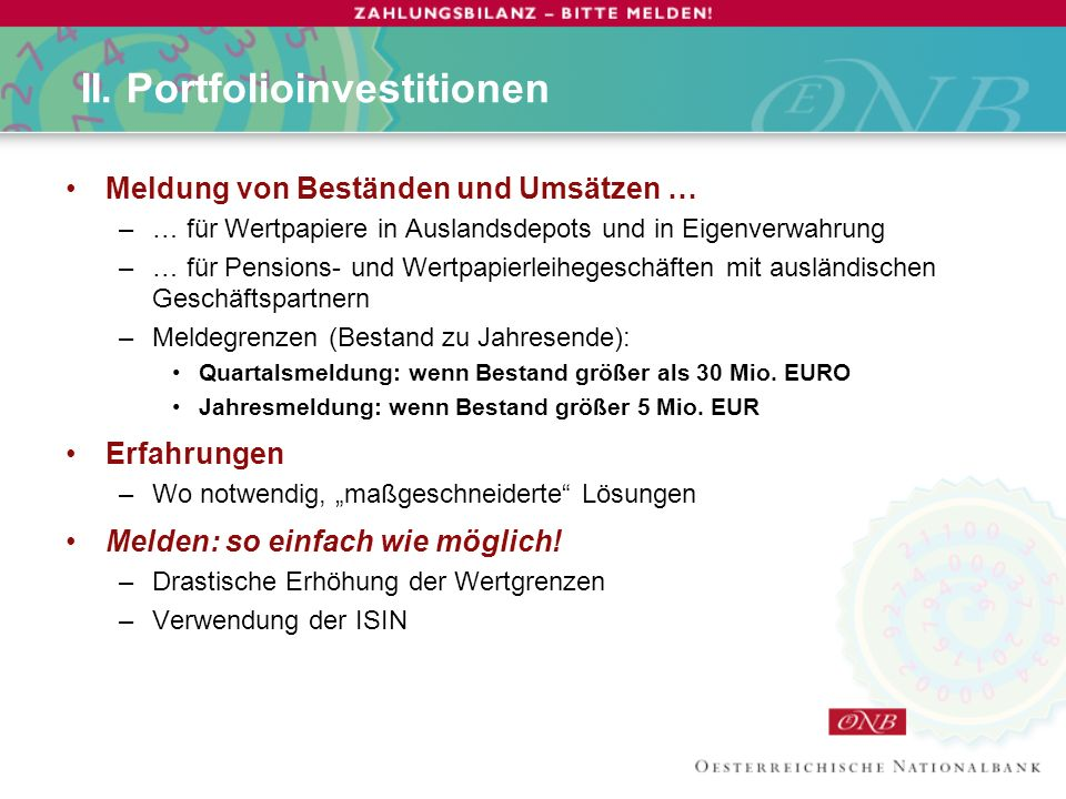 II. Portfolioinvestitionen
