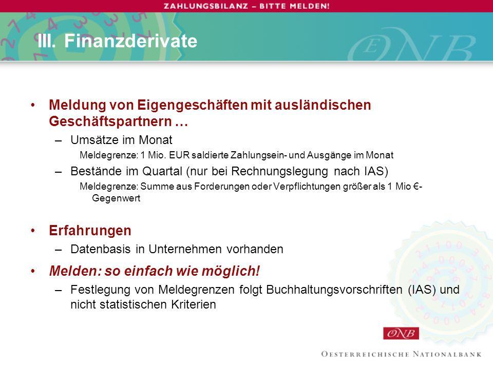 III. Finanzderivate Meldung von Eigengeschäften mit ausländischen Geschäftspartnern … Umsätze im Monat.